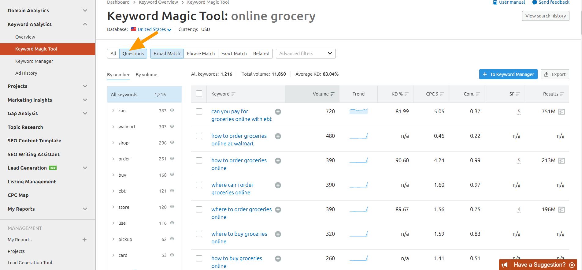 online_grocery_Keyword_Magic_Tool_SEMrush